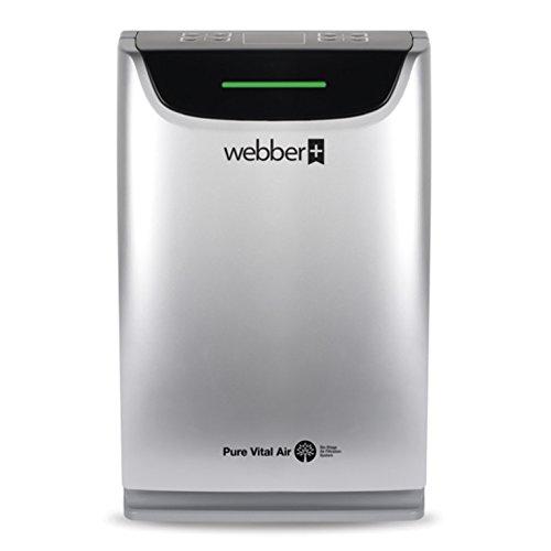 WEBBER Purificador del Aire AP9405 para Superficie 20-40m2, 4 Nivel Filtro, Lampara UV, Humidificador, Detector de Impureza, Mando de Distancia