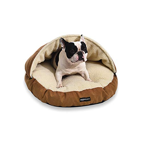 Amazon Basics Small Pet Cave Bed, 25 x 25 x 12 Inches, Tan