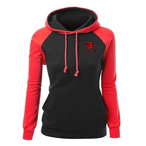 Eminem Pullover Frauen-Sweatshirt Herbst Langarm Damen Patchwork Pullover Bequeme Hoodie Tops Unisex (Color : Red03, Size : S)