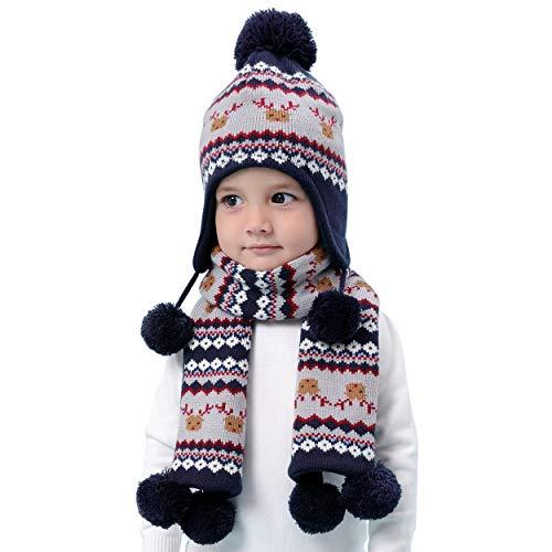 ANIMQUE Kinder Winter Mütze Schal 2stk Set Fleece Gefüttert Weihnachtsmotiv Jungen Mädchen 3-4 Jahre Warm Stricke Beanie Hut Strickmütze Halstücher Rentier Bohemien, XL