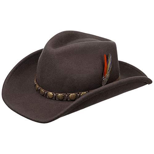 Stetson Sombrero del Oeste Hackberry Hombre - de Lana Vaquero Fieltro con Banda Piel Verano/Invierno - L (58-59 cm) marrón