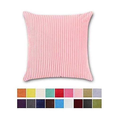 JOTOM Funda de Almohada para Cojín Pana a Rayas Cuadradas,Decorativas para Sofa,Cama,Silla 45 x 45 cm (Rayas   Bebé Rosa, 45x45cm,2 Piezas)
