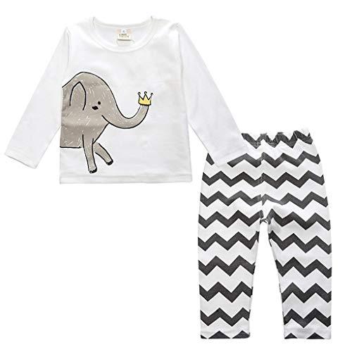 Ensemble de Pyjama en Coton Little Kids Boys pour Filles Vêtements de Nuit géométriques à Manches Longues Ensemble de vêtements de Nuit 2 pièces(H,12-18 Mois)