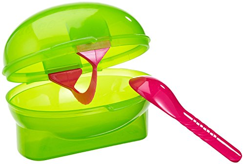 Fackelmann Kiwibox 3-in-1, kleine snack-box in kiwivorm met lepel en snijder, ideale transportbox voor onderweg (kleur: groen/roze), hoeveelheid: 1 stuk