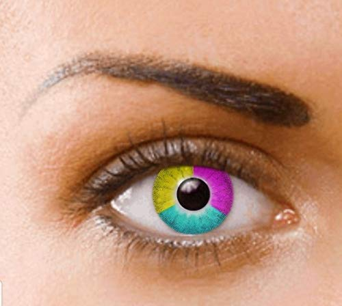 PHANTASY Eyes® Farbige Kontaktlinsen, Ohne Stärke (RAINBOW) perfekt zum Halloween, festival und Karneval, Jahres Linsen, 1 Paar crazy fun Contact linsen + Kontaktlinsenbelälter!