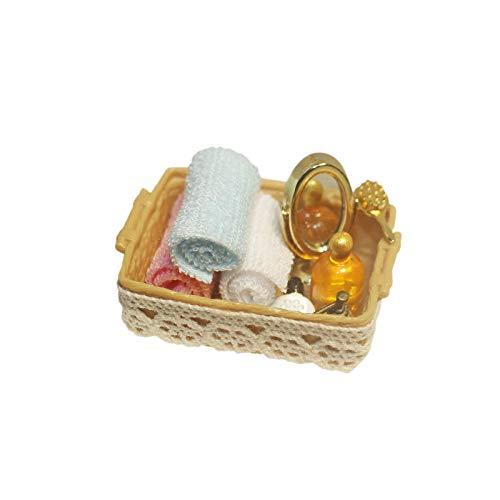 Deesen 1/12 Espejo Miniatura de Casa de MuuEcas + Perfume + Toalla + Rollo de Papel + Peine Accesorios de Casa de MuuEcas de BaaO