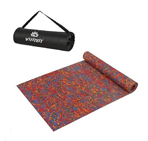 VIFITKIT Multicolour Non Slip Durable Eco Friendly yoga mat with Free Carrying Bag for Home Gym Outdoors and Pilates (6mm)