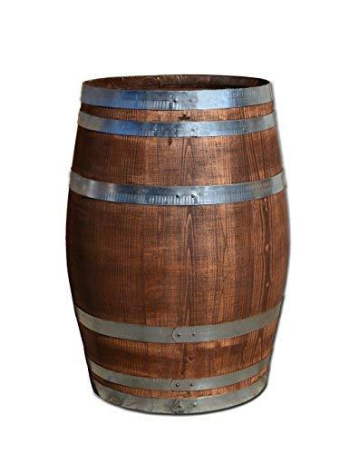 150 Liter Holzfass, neues Fass, Weinfass aus Kastanienholz geschlossen als Stehtisch, Bistrotisch (Fass palisanderfarben)