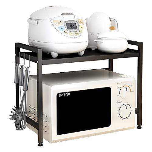 NEKOU レンジ上ラック 伸縮式 電子レンジラック 2段式 高さ調整可能 オーブンレンジラック キッチン収納ラック 耐熱 防蝕防錆 組み立て簡単 おしゃれ