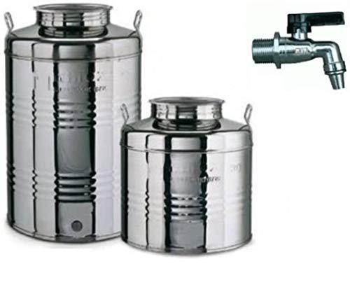 Megashopitalia Contenitore Bidone Fusto per Olio in Acciaio Inox 15 30 50 Litri Made in Italy con Guarnizione per Il Tappo e Rubinetto Incluso (30 Litri)