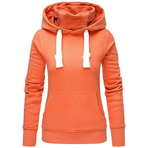 VEMOW Herbst Hoodies Damen Plus Size Langarm Casual Daily Sport Outdoors Freizeit Solid Damen Sweatshirt Kapuzenpullover Tops Shirt Winter Frühling(X1-Orange, 38 DE/M CN)
