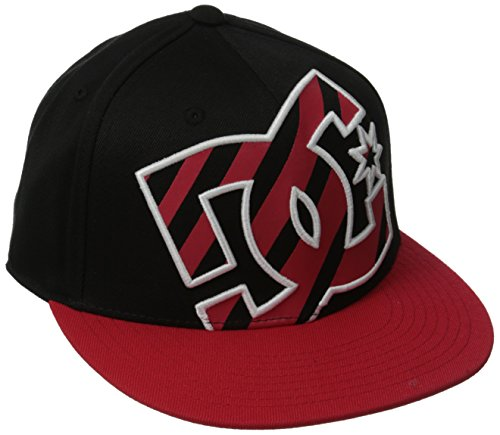 DC Shoes Ya Heard Casquette visières Homme, Noir (Black/Red Stripe), Small (Taille Fabricant: S/M)