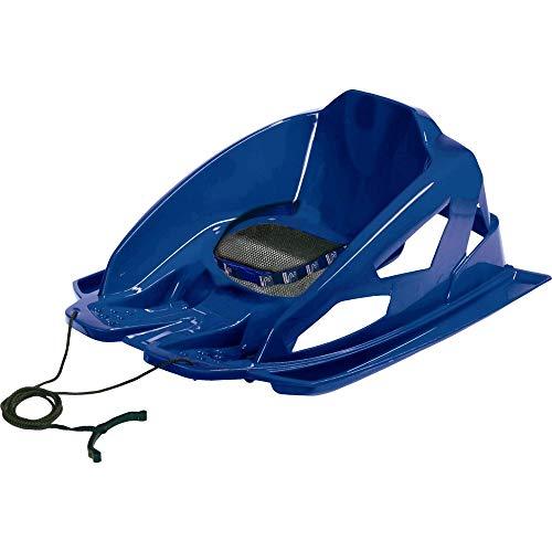 AlpenGaudi Bambino - sicherer Bob Schlitten für Kleinkinder mit hohen Seitenwänden, Sicherheitsgurt und Zugschnur, blau, One Size