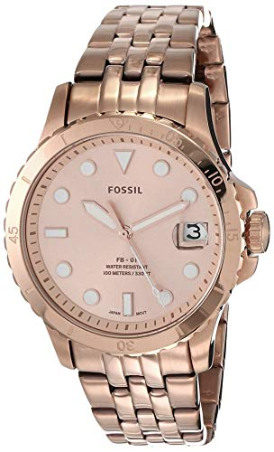 Fossil Women's FB-01 Quartz Stainless Three-Hand Watch, Color: Rose Gold (Model: ES4748)