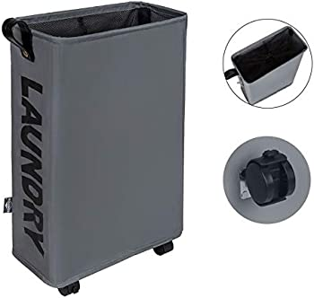 DOKEHOM Slim Laundry Basket with Leather Handle on Wheels
