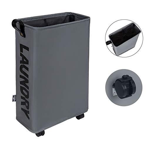 DOKEHOM Slim Laundry Basket with Leather Handle on Wheels, Foldable Corner Storage Bins, Collapsible Rolling Laundry Hamper. L39 xW19 xH58cm (Slim, Dark Grey)