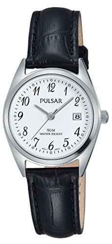 Pulsar Damen Analog Quarz Uhr mit Leder Armband PH7447X1