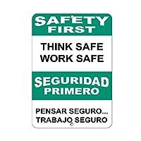 レトロなヴィンテージの装飾金属ティンサイン考える安全な作業安全、面白い鉄絵ヴィンテージ金属プラーク装飾警告サインアートワークポスターバーパーク