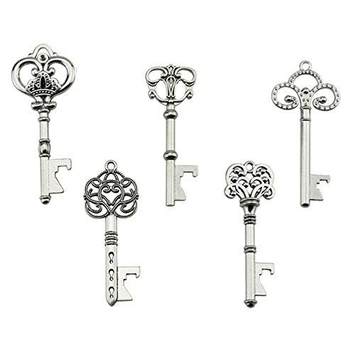 Schlüssel-Flaschenöffner - sortiert Vintage Skelett Schlüssel, Hochzeit Partyzubehör (25 Stück, silber )