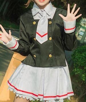 Anime Cosplay Card Captor Sakura Cosplay Vestido Camiseta + Falda + Abrigo + Corbata + Pelucas Mujeres Halloween Kinomoto Sakura Cosplay Disfraz Niñas Xl Solo Disfraz