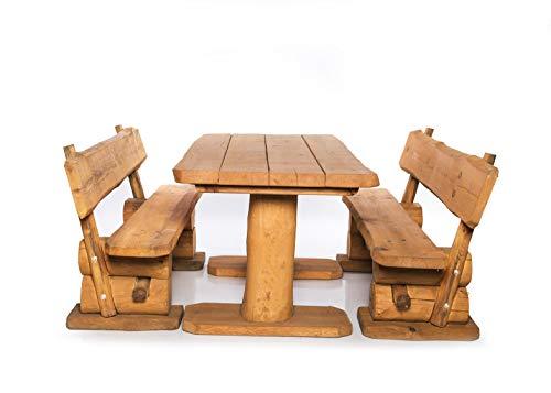 Massive rustikale Sitzgarnitur 4-Sitzer - Gartengarnitur - Aus heimischer Kiefer - Mit Holzschutzlasur behandelt (120 cm)