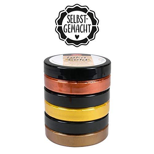 "Inka Gold 3er Farbset (Golden Classic) +\""Selbst Gemacht\"" Schablone - Viva Decor Metallic Effektfarbe, Metallglanz Polierfarbe, Effekt Farbe Metall, Bastelfarfe, Dekofarbe"