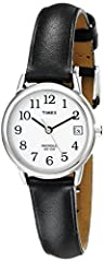 Adjustable black 12 millimeter genuine leather strap fits up to 7.5-inch wrist circumference White easy-to-read dial with date window at 3 o'clock; Full Arabic numerals Silver-tone 25 millimeter brass case with mineral glass crystal Indiglo light-up ...