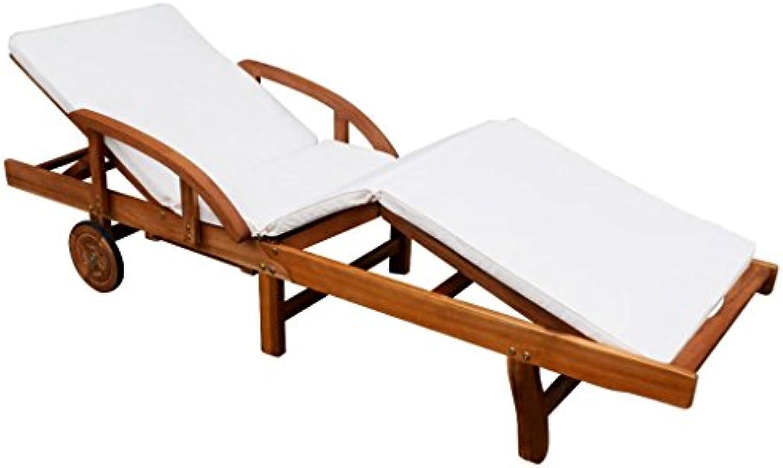 Tidyard Sonnenliege mit Auflage  Polster Gartenliege Liege für Garten Terrasse Schwimmbad  Akazienholz Massiv