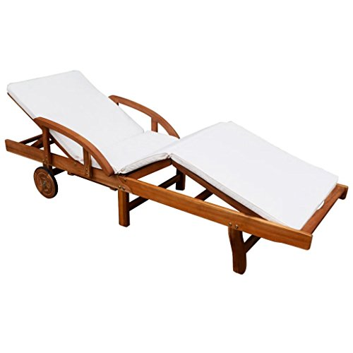 vidaXL Wooden Reclining Outdoor Furniture with Cushion,Sun Lounger for Sunbathing, Relaxation - Great Patio, Pool Deck, Garden, Lawn or Beach Lounging Chair, Solid Acacia Wood,Brown