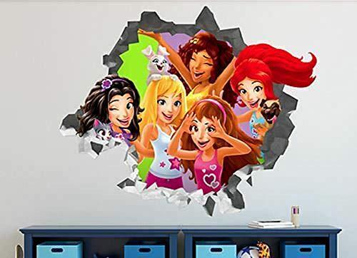 OMCCXO Pegatinas de Pared de Vinilo Extraíbles 3D Friends New Girls Arte Fácil de Aplicar Papel Tapiz Duradero 20x27inch(50x70cm)