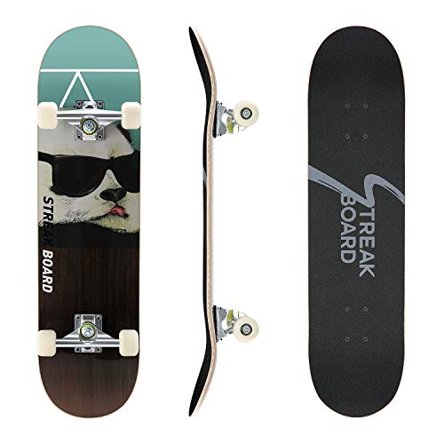streakboard Pro Complete Skateboard, Double Kick Deck Concave Skateboards, 7 Layer Panel with Canadian Maple, Skate Boards for Youths Beginners Teens Adults 31''x 8'' Alaska