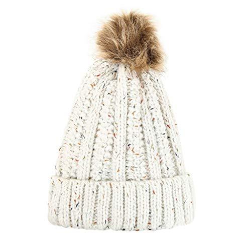 YXIU Damen Wintermütze, Verdicken Wolle Hut Strickmütze Winddicht Wintermützen, Warme Strickmütze mit Bommel (Beige)