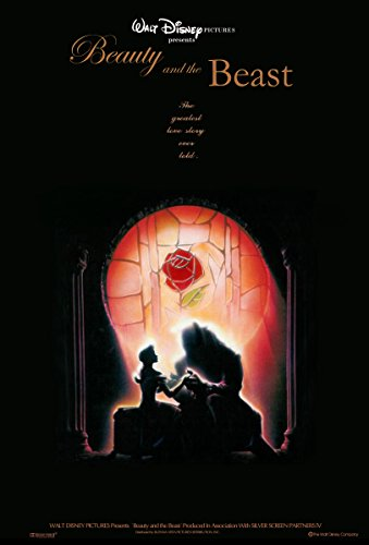 Movie Poster Beauty and The Beast (1991) - Dark - 13 in x 19 in Flyer Borderless + Free 1 Tile Magnet