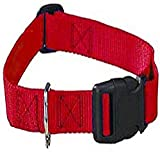Guardian Gear Nylon Adjustable Dog Collar with Plastic Buckles, Fits Necks 14' to 20', Red