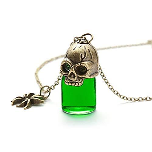 FDGJKGDHLD Collar de botella de cristal con diseño de calavera con botella...