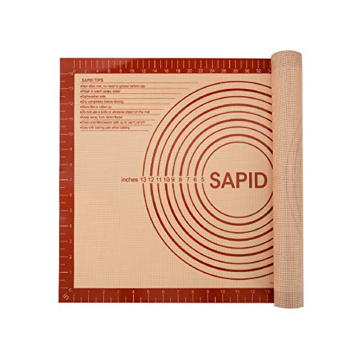 Sapid Extra Thick Silicone Pastry Mat Non-slip with Measurements for Non-stick Silicone Baking Mat Large, Dough Rolling, Pie Crust, Cookies, Kneading Mats, Countertop, Placement Mats (16' x 24', Red)
