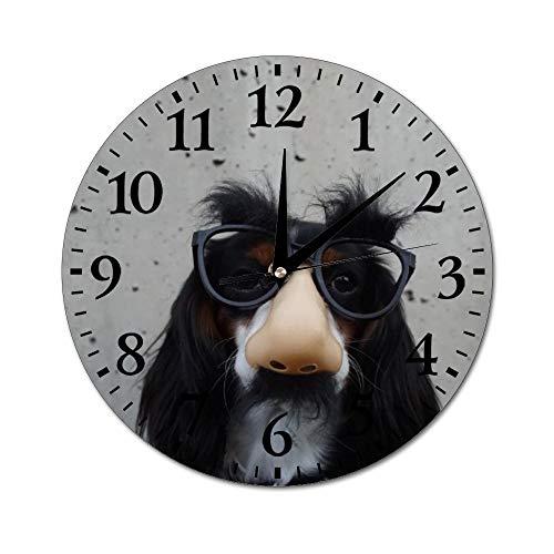 Mesllings wandklokken zwart en wit hond met vermomming brillen ronde glazen wandklok, muurdecoratie klokken voor keuken, kantoor, retro hangklok, woondecoratie accessoires