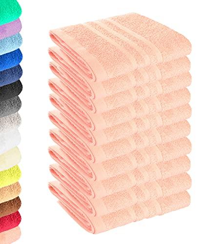 Lavea Juego de 10 toallas de mano (30 x 30 cm), color rosa pastel