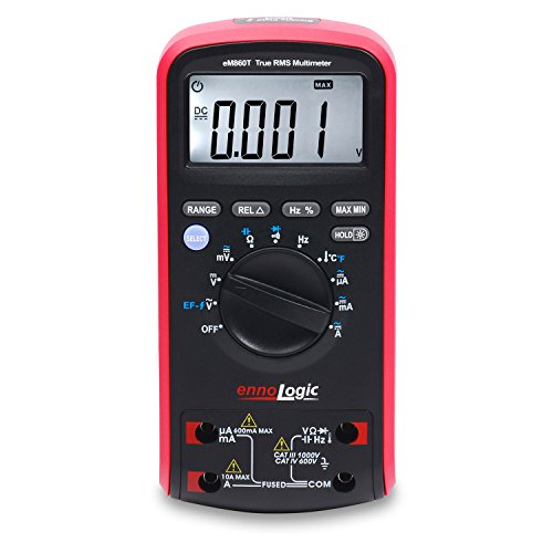 TRMS Digital Multimeter eM860T by ennoLogic - Auto Ranging DMM, Voltage, Current, Resistance, Capacitance, Frequency, Temperature, Non-Contact Voltage Detect, Carrying Case