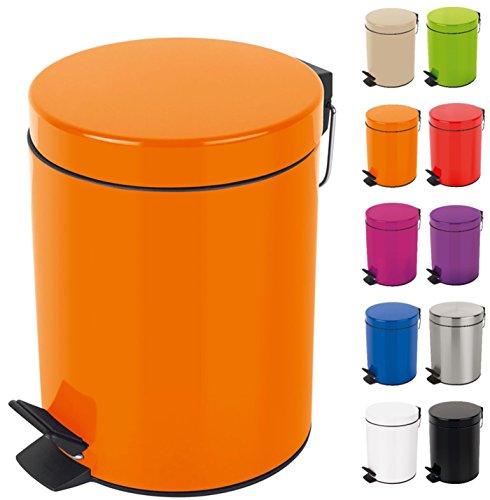 Spirella Kosmetikeimer Sydney Orange Mülleimer Treteimer Abfalleimer - 3 Liter – mit herausnehmbaren Inneneimer