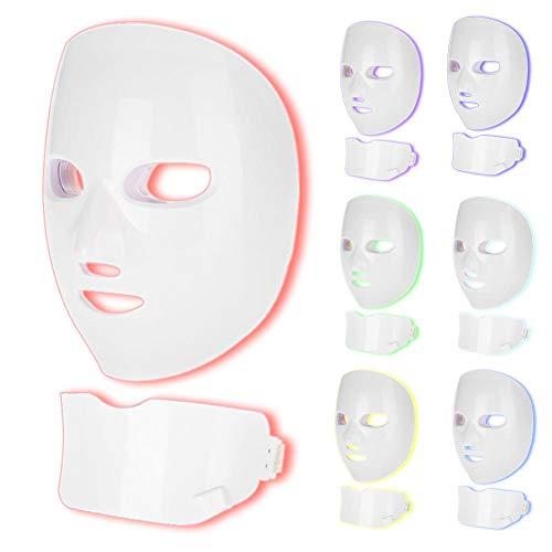 Filfeel Máquina para el del acné, 7 colores LED Mascarilla máscara facial belleza lámpara cuidado de la piel rejuvenecimiento cara cuello anti eliminación de arrugas Hogar(Blanco)