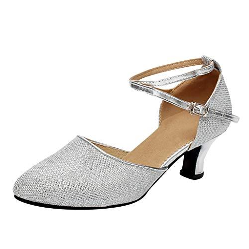 Damen Standard Latein Funkeln Tanzschuhe Frauen Ballsaal Salsa Tango Tanzen Schuhe Knöchelriemen Hochzeit Abendschuhe, Celucke Klassische Pumps Frühling Elegante Brautschuhe (Silber, EU39)
