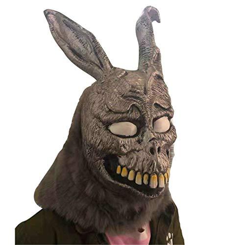 XUMING Máscara de Terror de Conejo de Halloween, Donnie Darko, Cabeza Entera con Orejas, Suave y cómoda para la Fiesta de Adultos Cosplay Decoración Accesorios-Plata