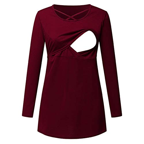Yczx Women Mom Postpartum Long Sleeves Doubled Layered Maternity Nursing Top Breastfeeding Solid Color T-Shirt Casual Tshirts Soft Comfortable Maternity Nursing Tops Convinient T-Shirt Blouse 3XL