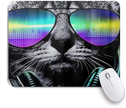 XWJZXS Mouse Mat?Youth Funny Hip Hop Dj Cat?for Office home and Gaming Mousepad Non-Slip Rubber Base