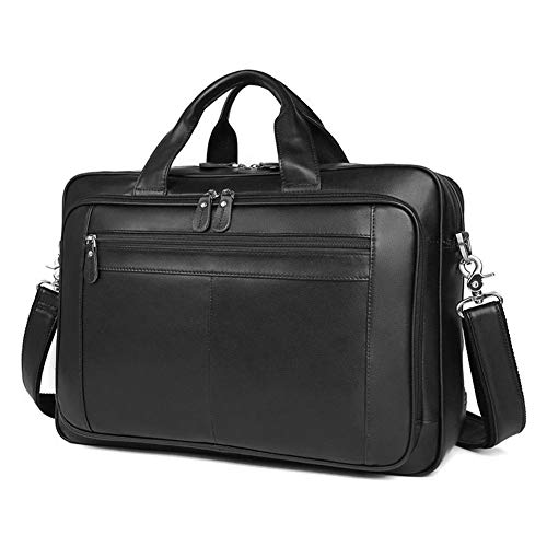 BAIGIO Men's Leather 17 Inches Laptop Business Briefcase Shoulder Tote Bag Portfolio Satchel Lawyers Briefcases for Men (Black)