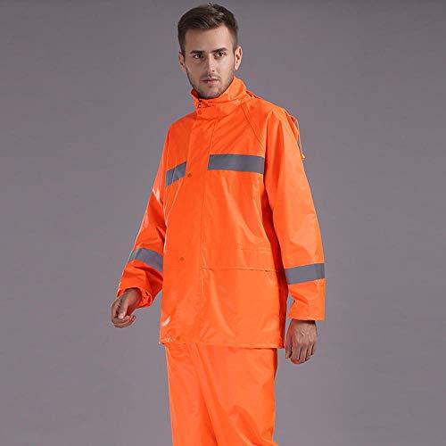 Poncho Impermeable Impermeable para Adultos Pantalones de Lluvia Chaqueta de Lluvia Impermeable con Rayas Reflectantes Abrigo-Naranja_SG