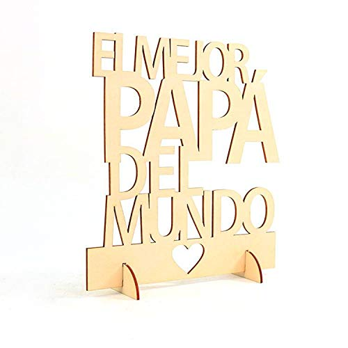 """DISOK - Cartel Madera""""EL MEJOR PAPÁ DEL MUNDO"""". Centro de mesa para fiestas del padre. Detalles para el día del padre."""