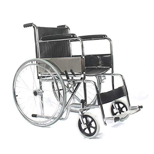ZXL Selbststuhl-Rollstuhl, manuelles Zusammenklappen des medizinischen Transports mit Fußpedal-Handbremse, 24-Zoll-PVC-Rad + 8-Zoll-PU-Lenkrad, Rollstuhl für Ledersitzlehne, schwarz