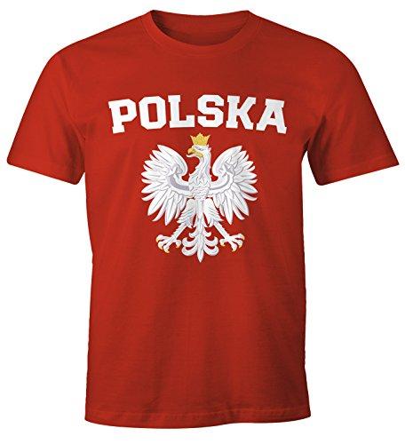 MoonWorks Herren T-Shirt Fußball WM Polska Polen Poland Flagge Weißer Adler rot-farbig M